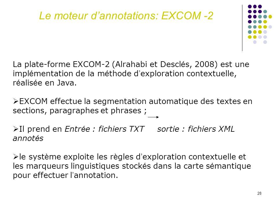 28 La plate-forme EXCOM-2 (Alrahabi et Descl é s, 2008) est une impl é mentation de la m é thode d exploration contextuelle, r é alis é e en Java. EXC