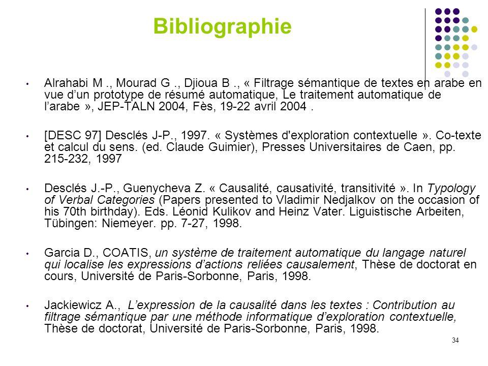 34 Bibliographie Alrahabi M., Mourad G., Djioua B., « Filtrage sémantique de textes en arabe en vue dun prototype de résumé automatique, Le traitement