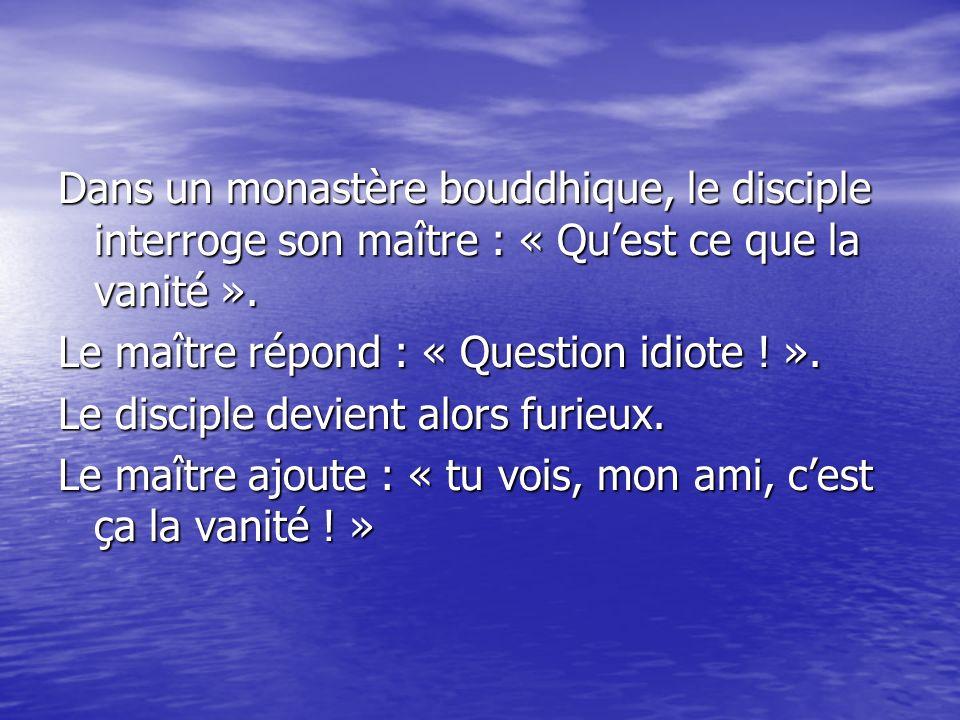 Dans un monastère bouddhique, le disciple interroge son maître : « Quest ce que la vanité ». Le maître répond : « Question idiote ! ». Le disciple dev