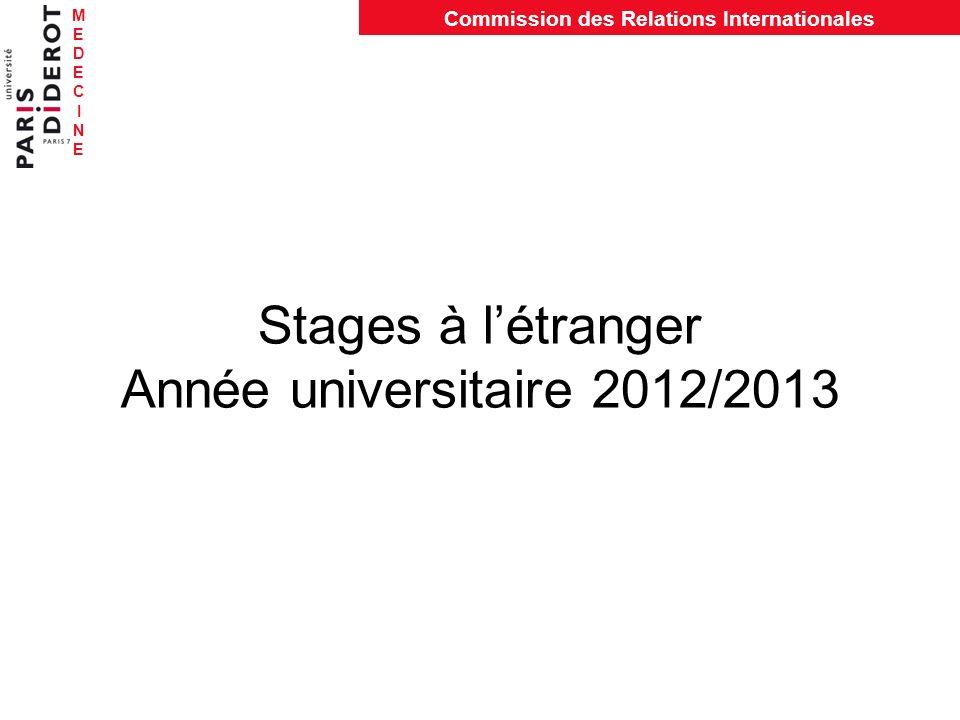 MEDECINEMEDECINE Commission des Relations Internationales Stages à létranger Année universitaire 2012/2013