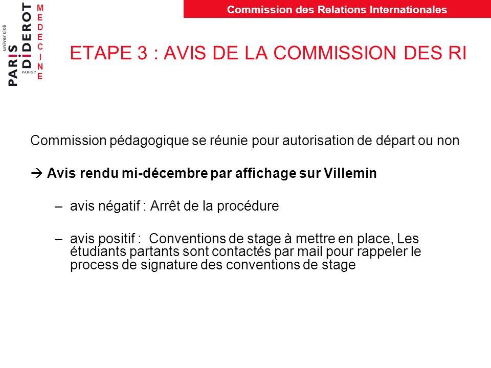 MEDECINEMEDECINE Commission des Relations Internationales ETAPE 3 : AVIS DE LA COMMISSION DES RI Commission pédagogique se réunie pour autorisation de