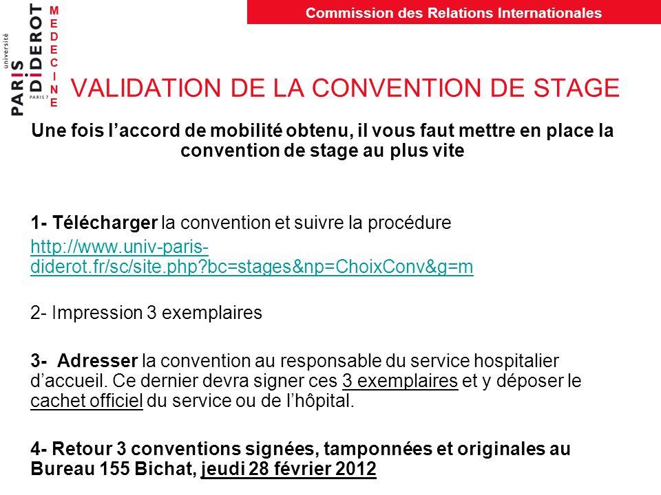 MEDECINEMEDECINE Commission des Relations Internationales MEDECINEMEDECINE VALIDATION DE LA CONVENTION DE STAGE Une fois laccord de mobilité obtenu, i