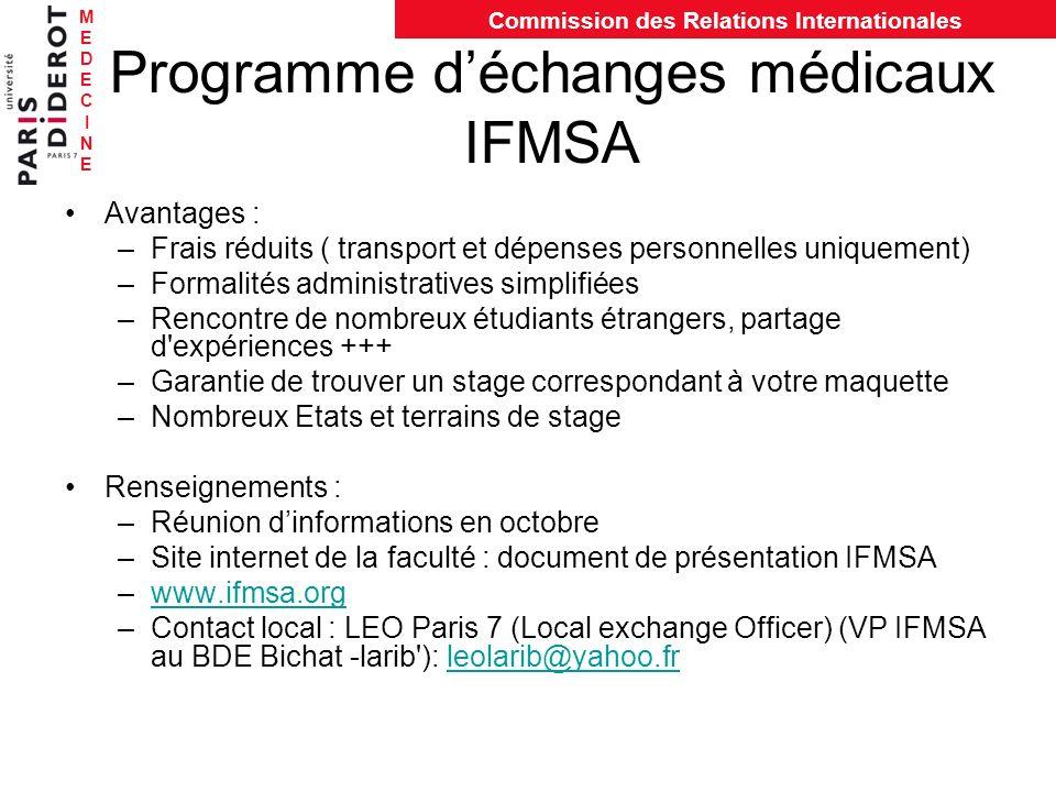 MEDECINEMEDECINE Commission des Relations Internationales Programme déchanges médicaux IFMSA Avantages : –Frais réduits ( transport et dépenses person