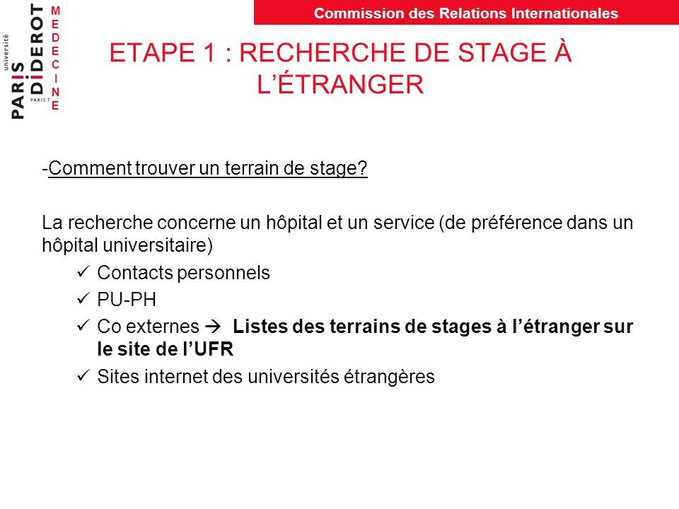 MEDECINEMEDECINE Commission des Relations Internationales ETAPE 1 : RECHERCHE DE STAGE À LÉTRANGER -Comment trouver un terrain de stage? La recherche