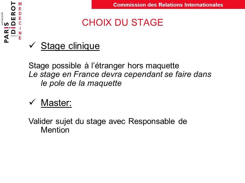 MEDECINEMEDECINE Commission des Relations Internationales CHOIX DU STAGE Stage clinique Stage possible à létranger hors maquette Le stage en France de