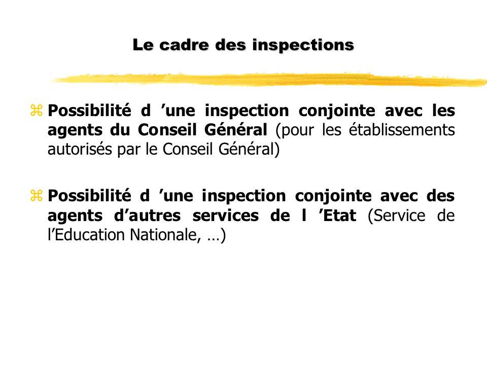 Le cadre des inspections zPossibilité d une inspection conjointe avec les agents du Conseil Général (pour les établissements autorisés par le Conseil Général) zPossibilité d une inspection conjointe avec des agents dautres services de l Etat (Service de lEducation Nationale, …)
