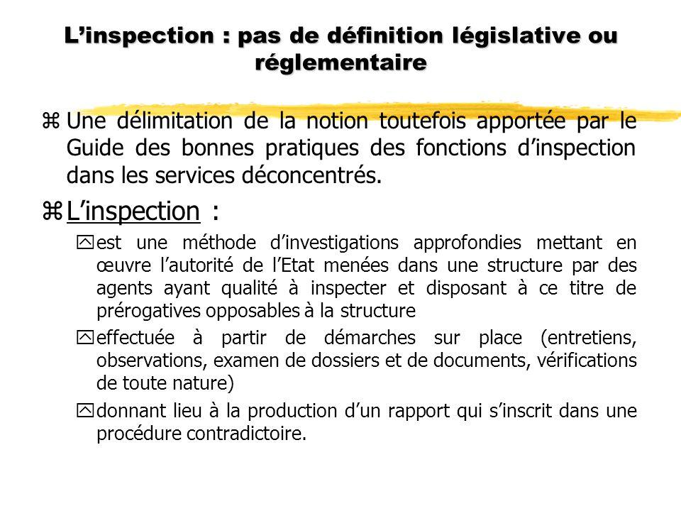 Linspection : pas de définition législative ou réglementaire zUne délimitation de la notion toutefois apportée par le Guide des bonnes pratiques des fonctions dinspection dans les services déconcentrés.