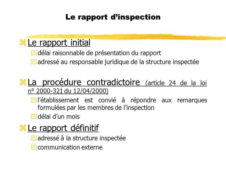 Le rapport dinspection zLe rapport initial ydélai raisonnable de présentation du rapport yadressé au responsable juridique de la structure inspectée z