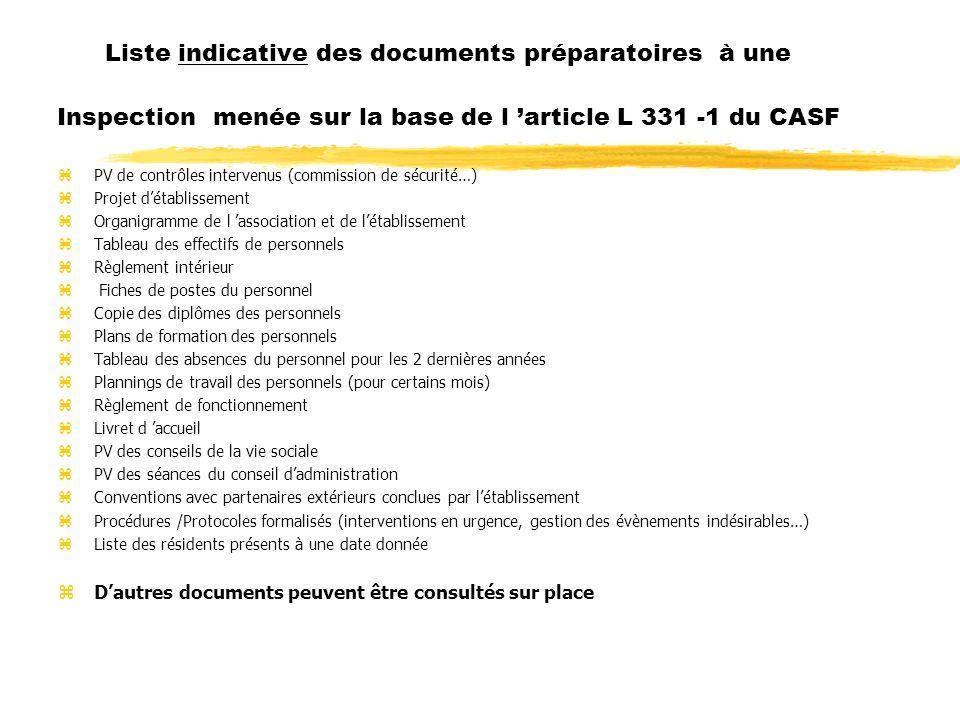 Liste indicative des documents préparatoires à une Inspection menée sur la base de l article L 331 -1 du CASF zPV de contrôles intervenus (commission