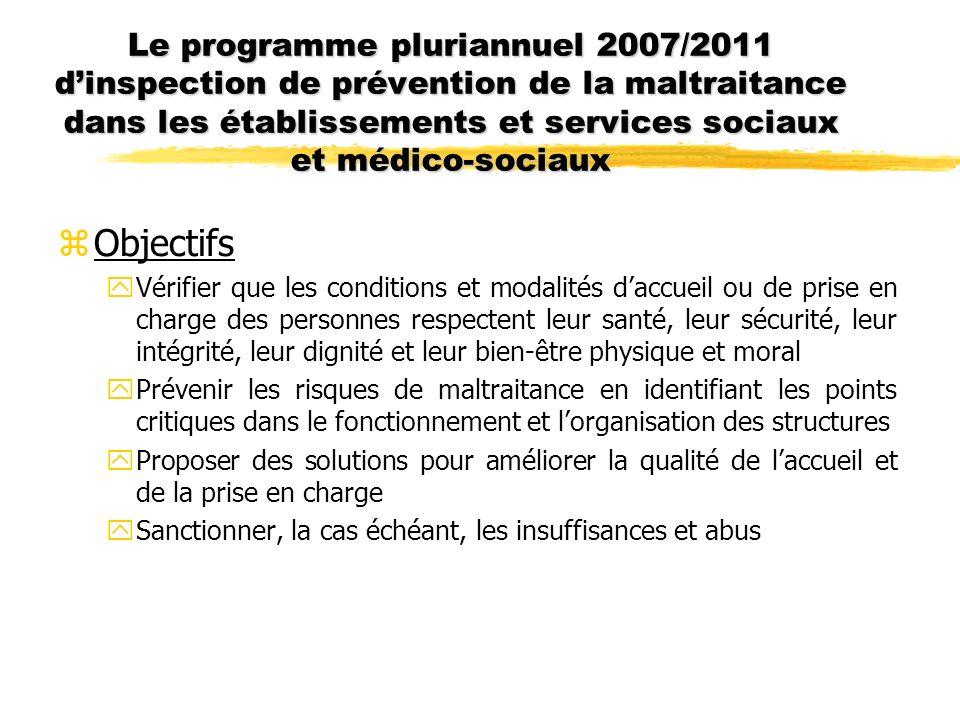 Le programme pluriannuel 2007/2011 dinspection de prévention de la maltraitance dans les établissements et services sociaux et médico-sociaux zObjecti