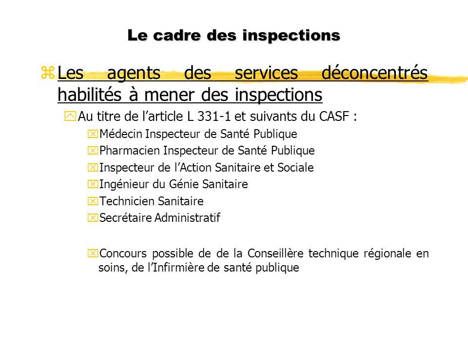 Le cadre des inspections zLes agents des services déconcentrés habilités à mener des inspections yAu titre de larticle L 331-1 et suivants du CASF : x