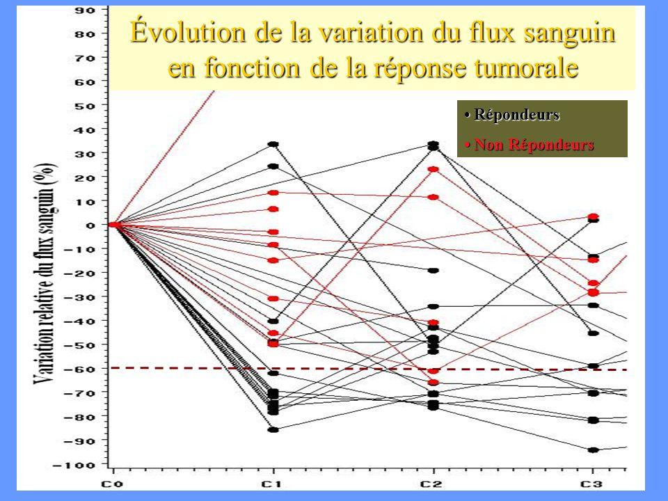 CA Cuenod Évolution de la variation du flux sanguin en fonction de la réponse tumorale Répondeurs Répondeurs Non Répondeurs Non Répondeurs