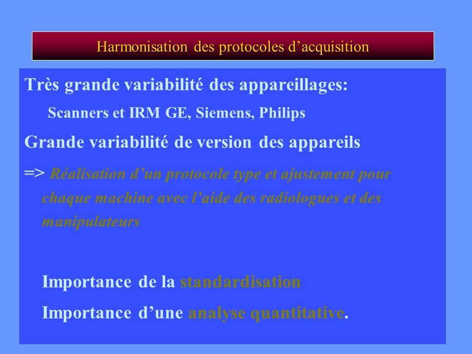 CA Cuenod Harmonisation des protocoles dacquisition Très grande variabilité des appareillages: Scanners et IRM GE, Siemens, Philips Grande variabilité