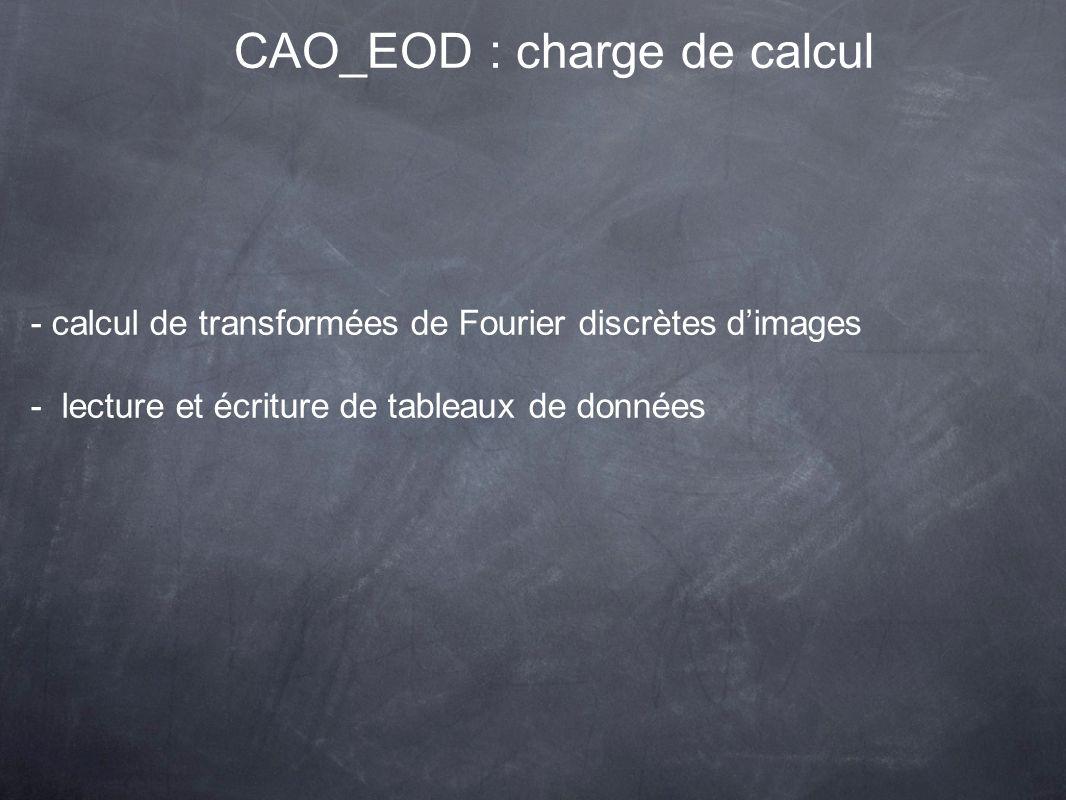 CAO_EOD : charge de calcul - calcul de transformées de Fourier discrètes dimages - lecture et écriture de tableaux de données