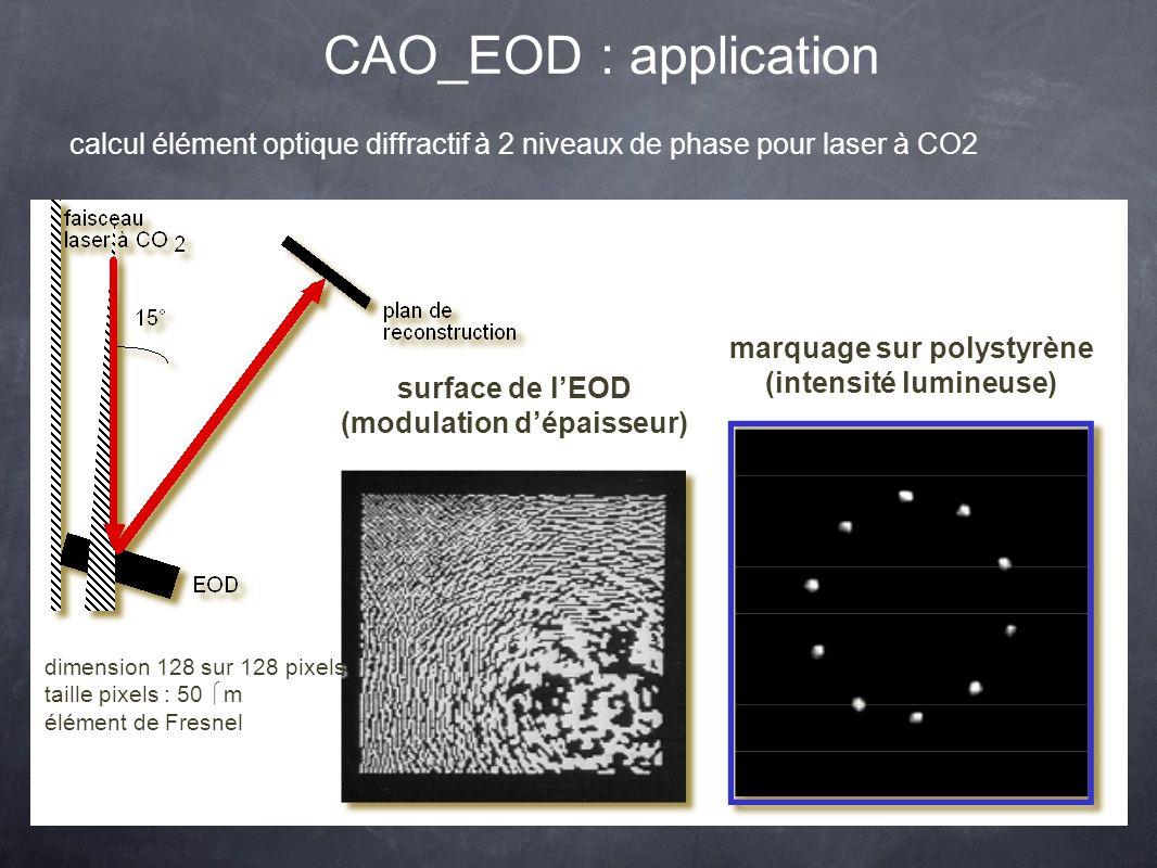 CAO_EOD : application calcul élément optique diffractif à 2 niveaux de phase pour laser à CO2 surface de lEOD (modulation dépaisseur) surface de lEOD (modulation dépaisseur) marquage sur polystyrène (intensité lumineuse) marquage sur polystyrène (intensité lumineuse) dimension 128 sur 128 pixels taille pixels : 50 m élément de Fresnel dimension 128 sur 128 pixels taille pixels : 50 m élément de Fresnel