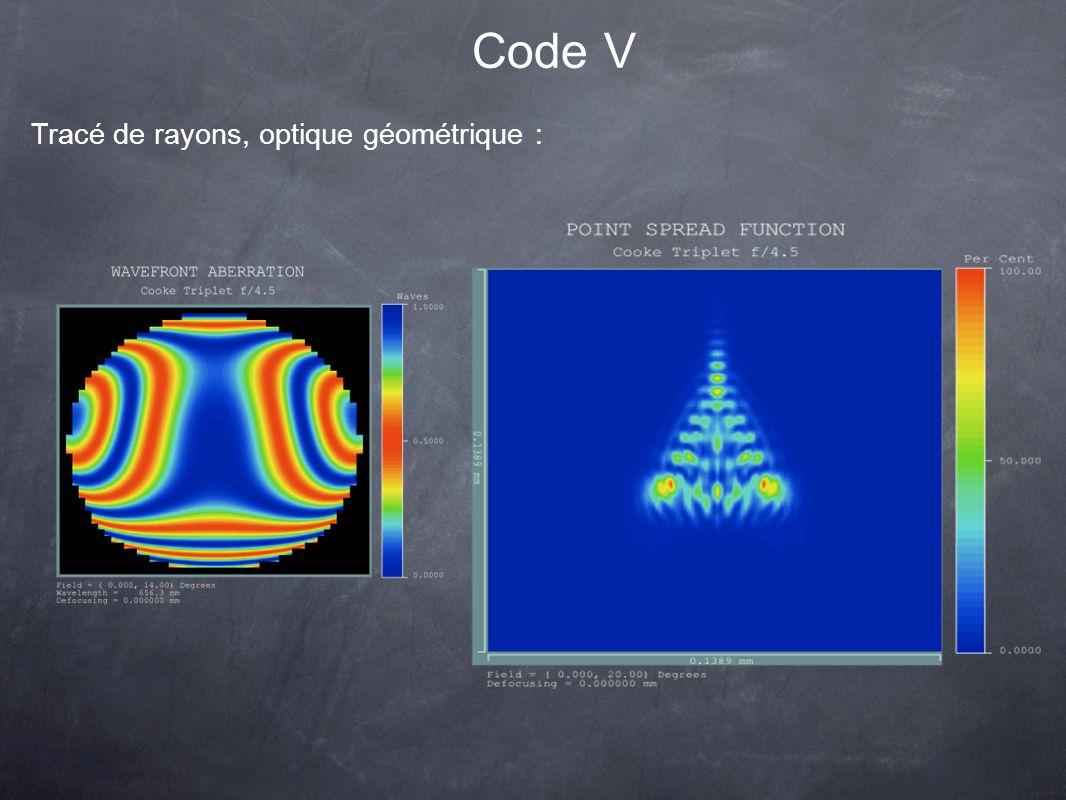 Code V Tracé de rayons, optique géométrique :