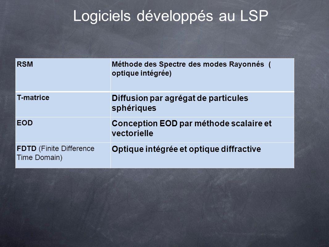 Logiciels développés au LSP RSMMéthode des Spectre des modes Rayonnés ( optique intégrée) T-matrice Diffusion par agrégat de particules sphériques EOD Conception EOD par méthode scalaire et vectorielle FDTD (Finite Difference Time Domain) Optique intégrée et optique diffractive