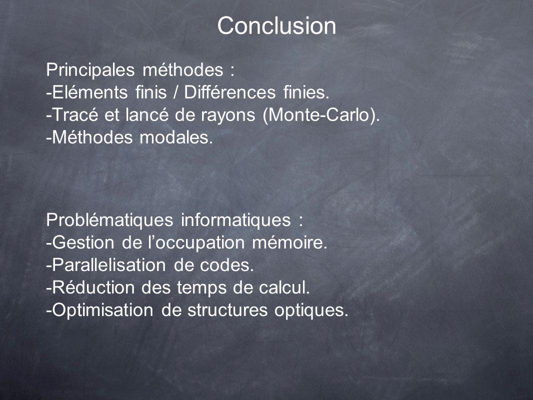 Conclusion Principales méthodes : -Eléments finis / Différences finies. -Tracé et lancé de rayons (Monte-Carlo). -Méthodes modales. Problématiques inf