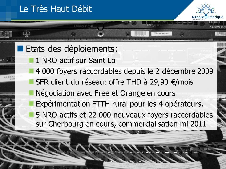 Le Très Haut Débit Etats des déploiements: 1 NRO actif sur Saint Lo 4 000 foyers raccordables depuis le 2 décembre 2009 SFR client du réseau: offre TH
