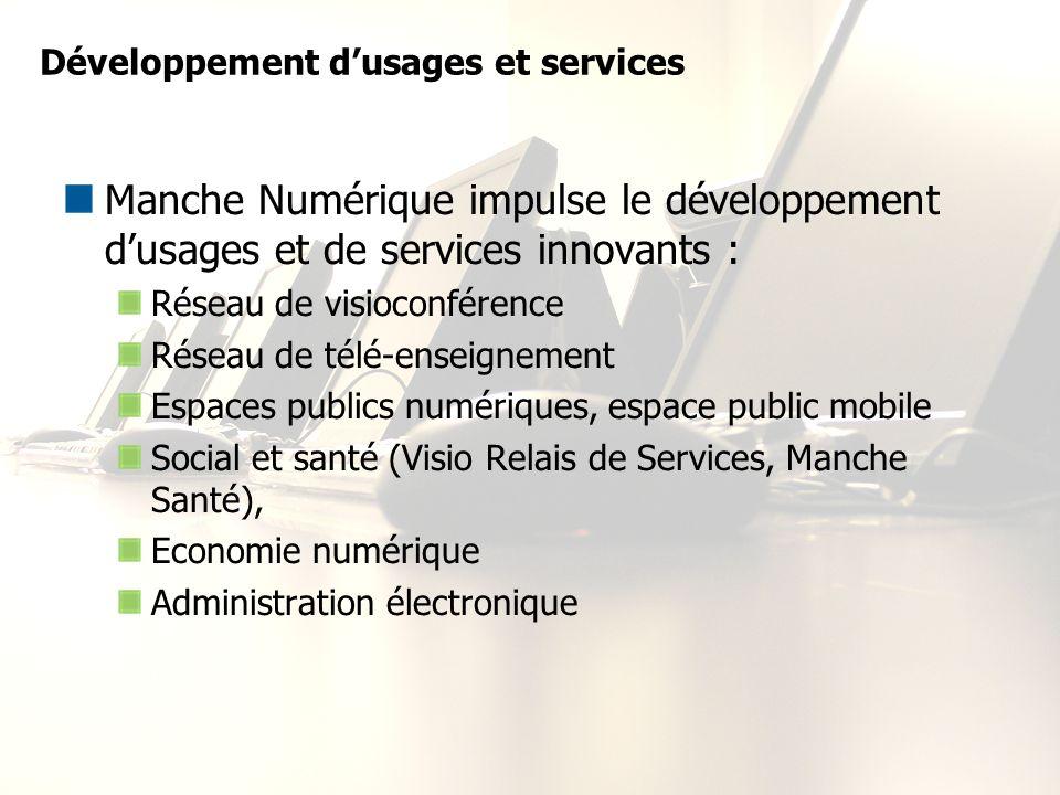 Développement dusages et services Manche Numérique impulse le développement dusages et de services innovants : Réseau de visioconférence Réseau de tél