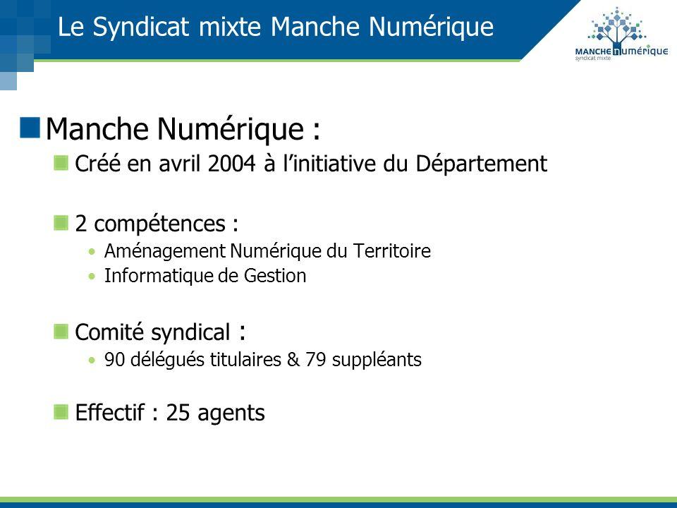 Le Syndicat mixte Manche Numérique Manche Numérique : Créé en avril 2004 à linitiative du Département 2 compétences : Aménagement Numérique du Territo