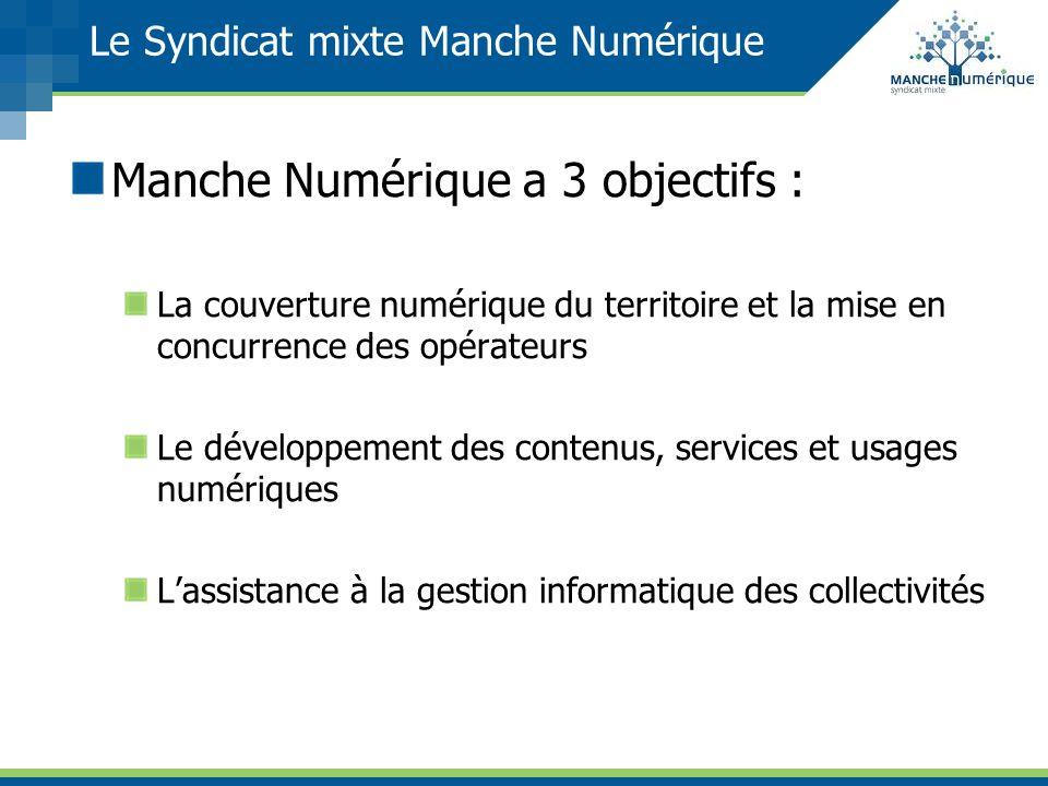 Le Syndicat mixte Manche Numérique Manche Numérique a 3 objectifs : La couverture numérique du territoire et la mise en concurrence des opérateurs Le
