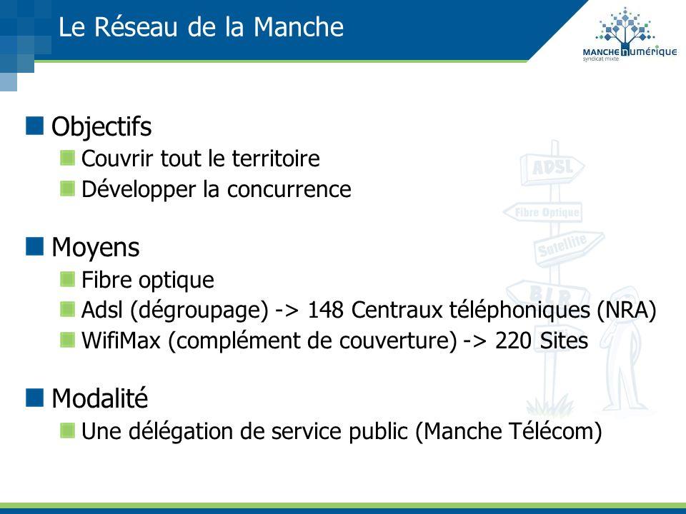 Le Réseau de la Manche Objectifs Couvrir tout le territoire Développer la concurrence Moyens Fibre optique Adsl (dégroupage) -> 148 Centraux téléphoni