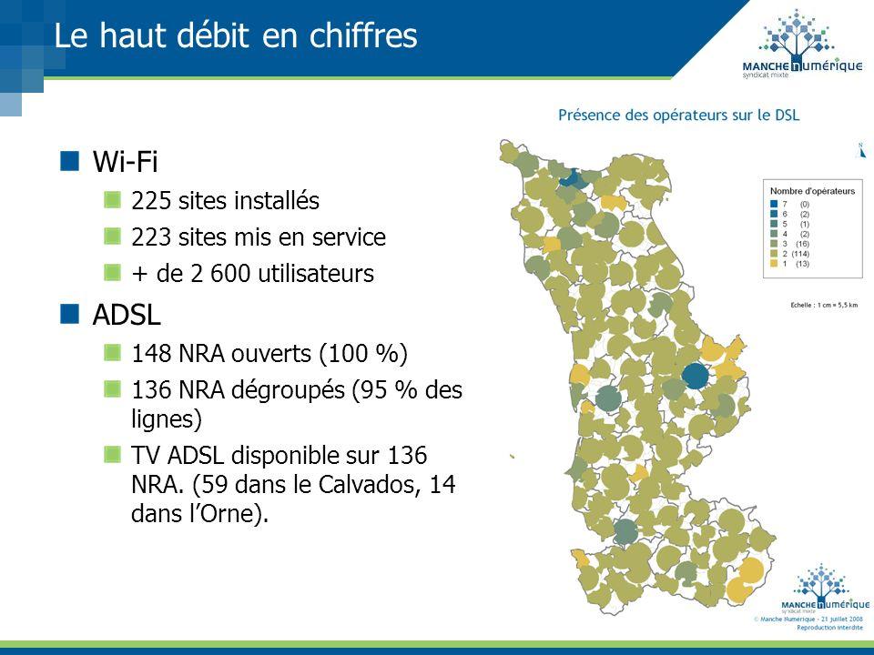 Le haut débit en chiffres Wi-Fi 225 sites installés 223 sites mis en service + de 2 600 utilisateurs ADSL 148 NRA ouverts (100 %) 136 NRA dégroupés (9