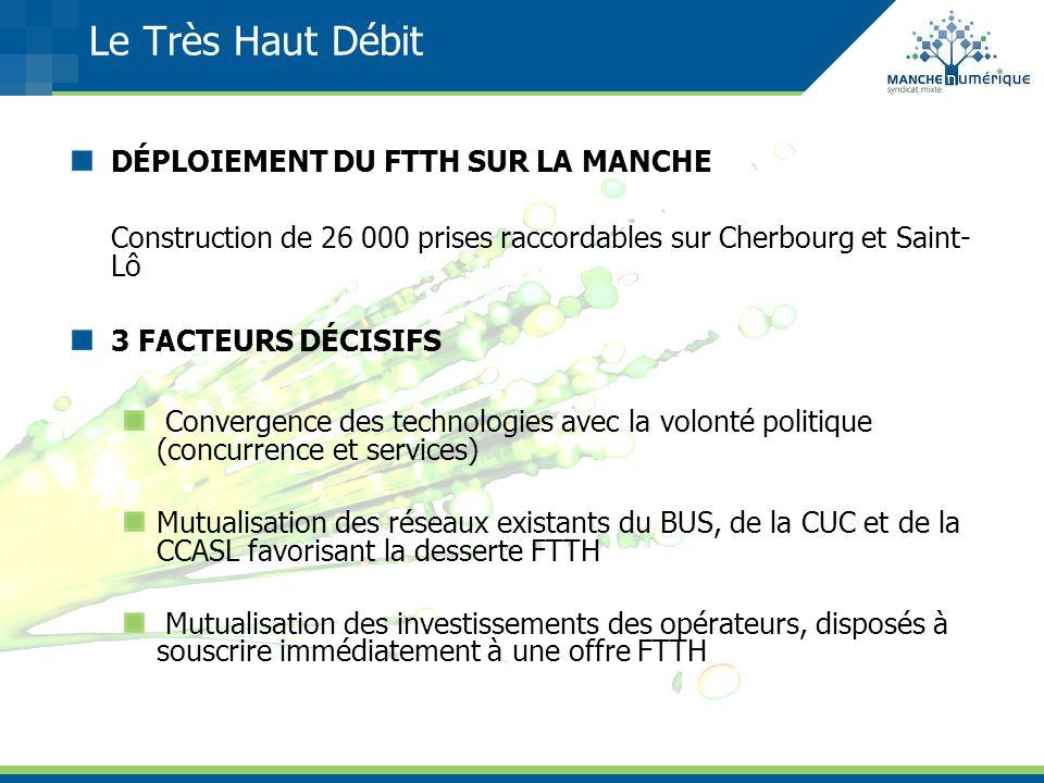Le Très Haut Débit DÉPLOIEMENT DU FTTH SUR LA MANCHE Construction de 26 000 prises raccordables sur Cherbourg et Saint- Lô 3 FACTEURS DÉCISIFS Converg