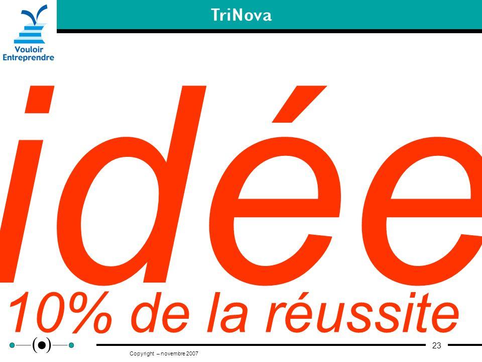 23 Copyright – novembre 2007 idée 10% de la réussite