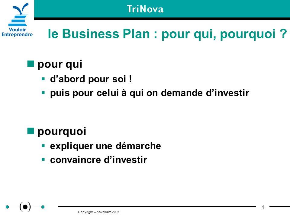 4 Copyright – novembre 2007 le Business Plan : pour qui, pourquoi ? pour qui dabord pour soi ! puis pour celui à qui on demande dinvestir pourquoi exp
