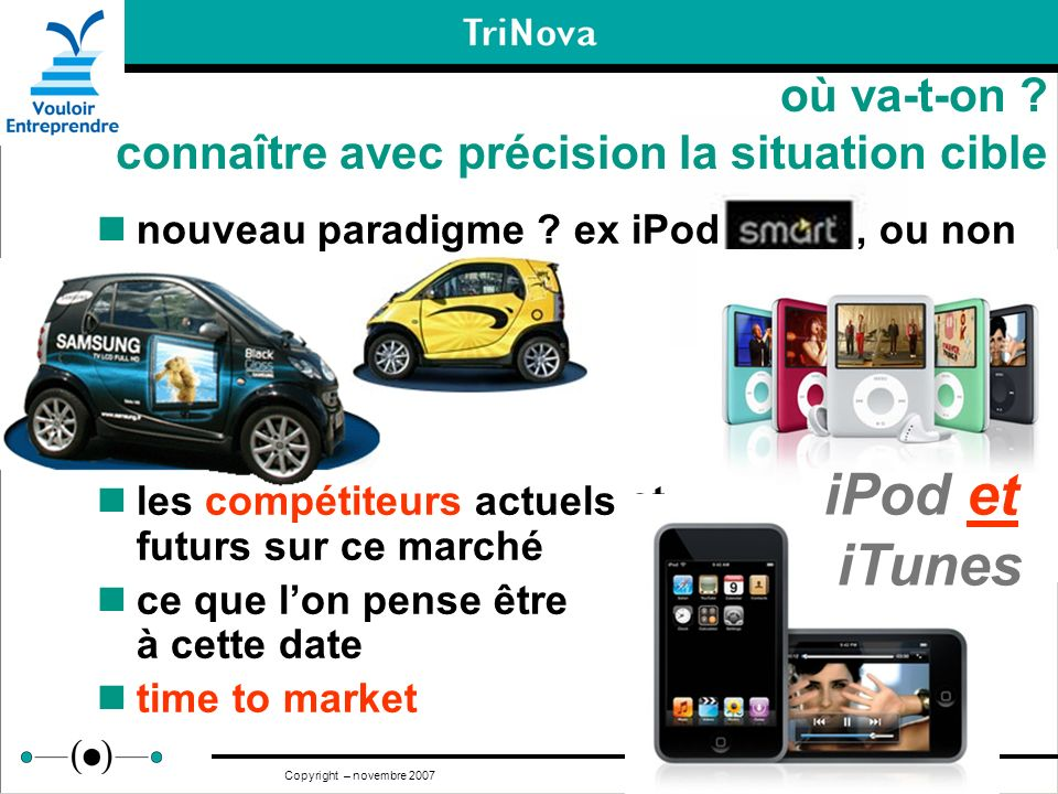 9 Copyright – novembre 2007 où va-t-on ? connaître avec précision la situation cible nouveau paradigme ? ex iPod, ou non les compétiteurs actuels et f