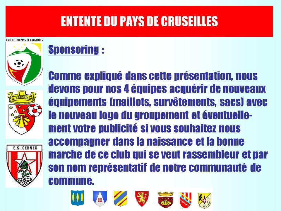 ENTENTE DU PAYS DE CRUSEILLES Sponsoring : Comme expliqué dans cette présentation, nous devons pour nos 4 équipes acquérir de nouveaux équipements (ma