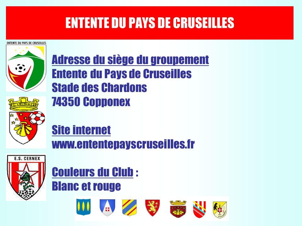 ENTENTE DU PAYS DE CRUSEILLES Adresse du siège du groupement Entente du Pays de Cruseilles Stade des Chardons 74350 Copponex Site internet www.entente