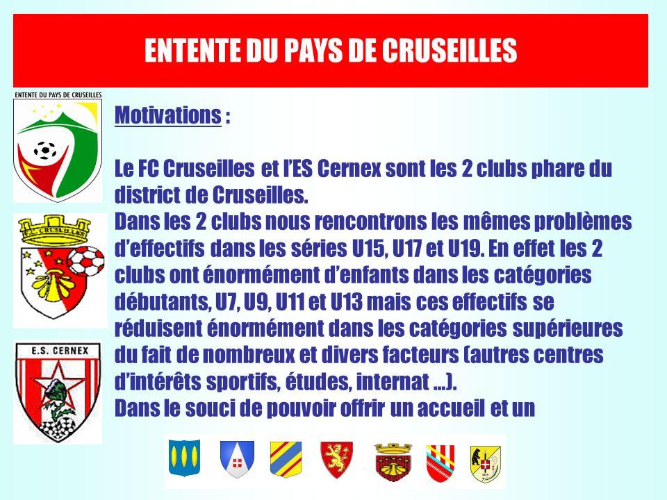ENTENTE DU PAYS DE CRUSEILLES Motivations : Le FC Cruseilles et lES Cernex sont les 2 clubs phare du district de Cruseilles. Dans les 2 clubs nous ren