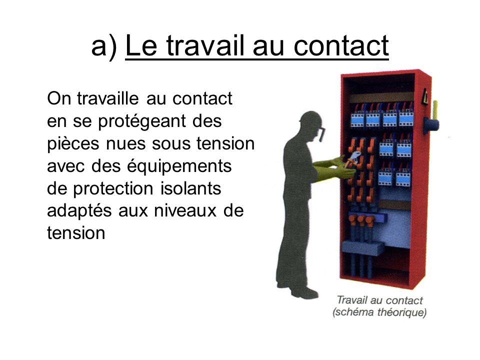 a) Le travail au contact On travaille au contact en se protégeant des pièces nues sous tension avec des équipements de protection isolants adaptés aux