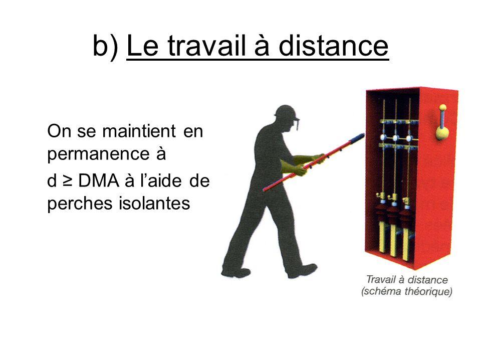 b) Le travail à distance On se maintient en permanence à d DMA à laide de perches isolantes