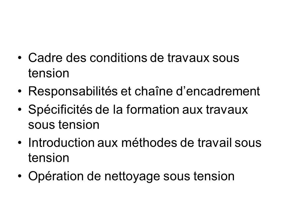 6.1 CADRE DES CONDITIONS DE TRAVAUX SOUS TENSION