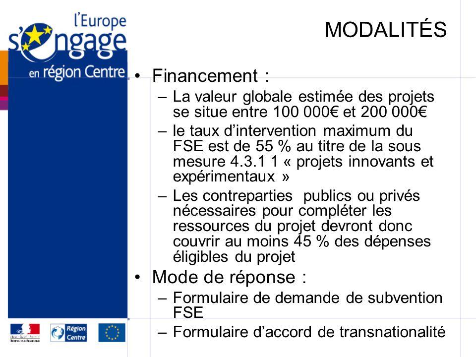 MODALITÉS Financement : –La valeur globale estimée des projets se situe entre 100 000 et 200 000 –le taux dintervention maximum du FSE est de 55 % au