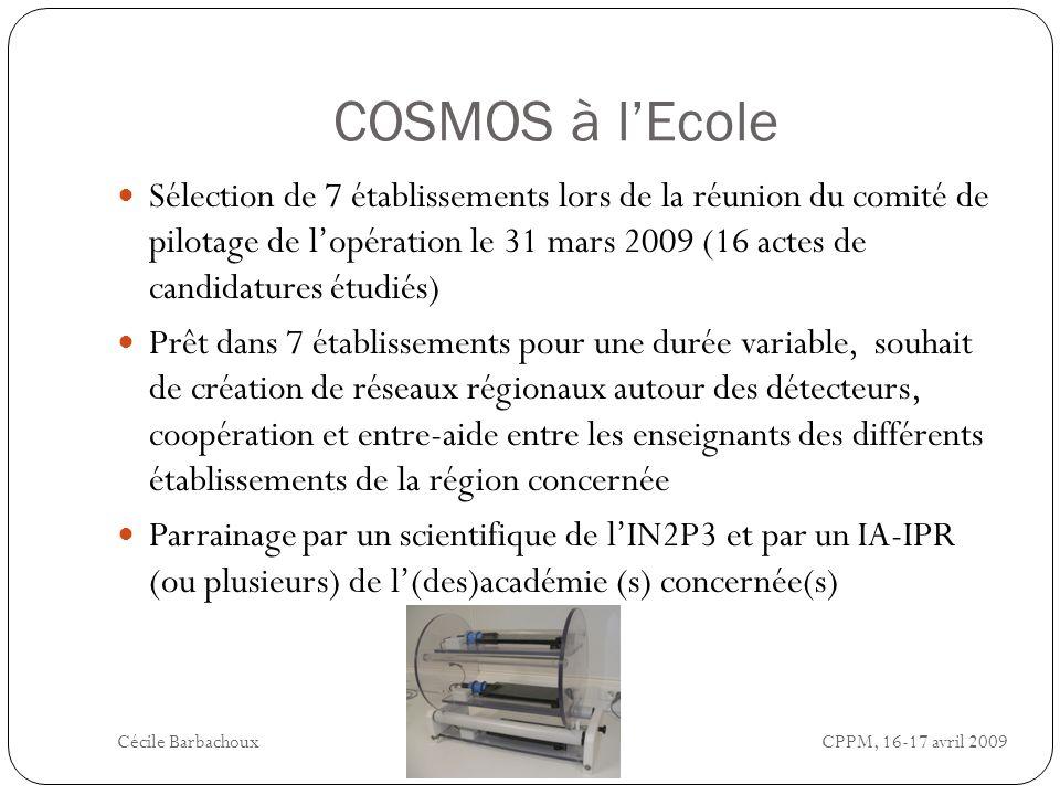 COSMOS à lEcole Sélection de 7 établissements lors de la réunion du comité de pilotage de lopération le 31 mars 2009 (16 actes de candidatures étudiés