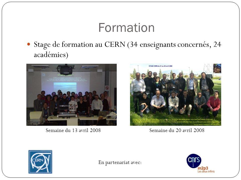 Formation Stage de formation au CERN (34 enseignants concernés, 24 académies) Semaine du 13 avril 2008Semaine du 20 avril 2008 En partenariat avec: