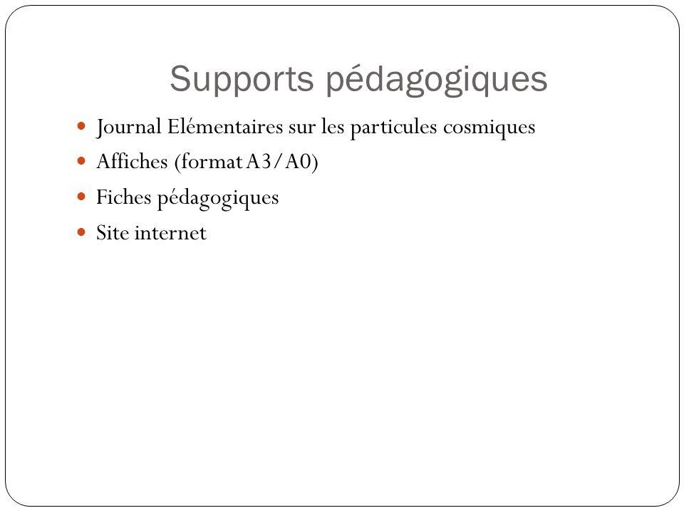 Supports pédagogiques Journal Elémentaires sur les particules cosmiques Affiches (format A3/A0) Fiches pédagogiques Site internet