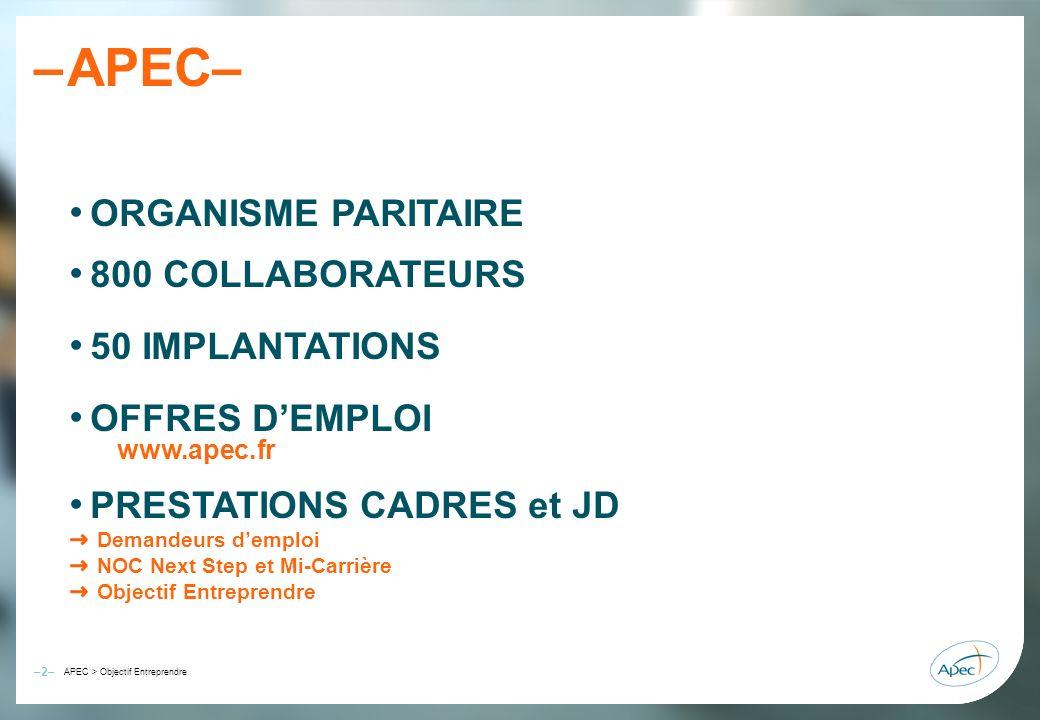 –2– – APEC > Objectif Entreprendre APEC– ORGANISME PARITAIRE 800 COLLABORATEURS 50 IMPLANTATIONS OFFRES DEMPLOI www.apec.fr PRESTATIONS CADRES et JD D