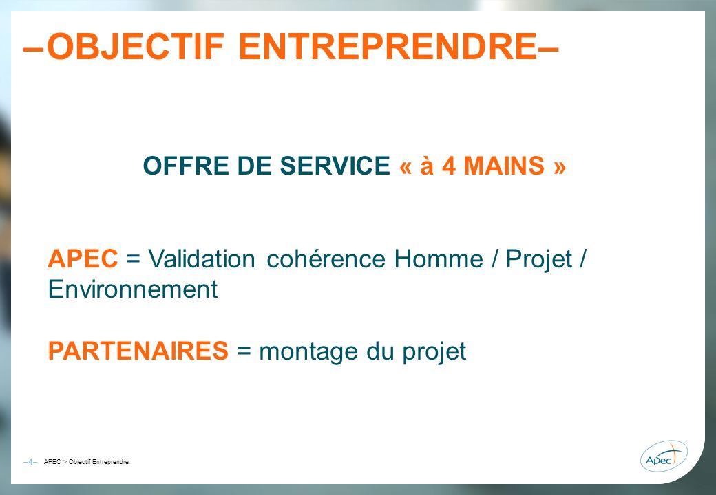 –4– – APEC > Objectif Entreprendre OBJECTIF ENTREPRENDRE– OFFRE DE SERVICE « à 4 MAINS » APEC = Validation cohérence Homme / Projet / Environnement PA