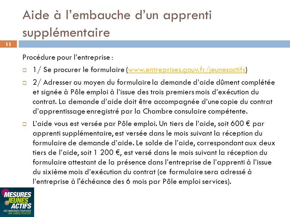 11 Aide à lembauche dun apprenti supplémentaire Procédure pour lentreprise : 1/ Se procurer le formulaire (www.entreprises.gouv.fr/jeunesactifs)www.en