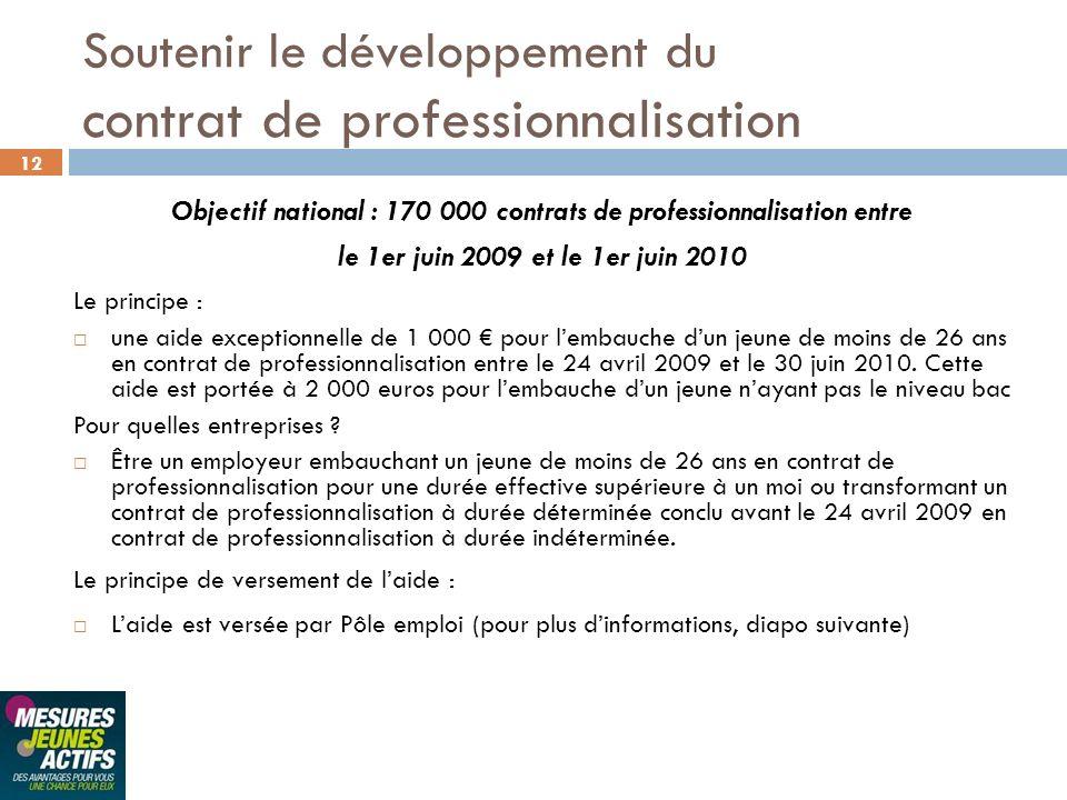 12 Soutenir le développement du contrat de professionnalisation Objectif national : 170 000 contrats de professionnalisation entre le 1er juin 2009 et