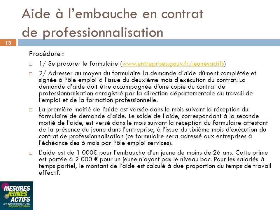 13 Procédure : 1/ Se procurer le formulaire (www.entreprises.gouv.fr/jeunesactifs)www.entreprises.gouv.fr/jeunesactifs 2/ Adresser au moyen du formula