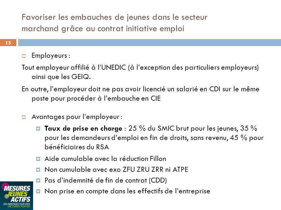 15 Employeurs : Tout employeur affilié à lUNEDIC (à lexception des particuliers employeurs) ainsi que les GEIQ. En outre, lemployeur doit ne pas avoir
