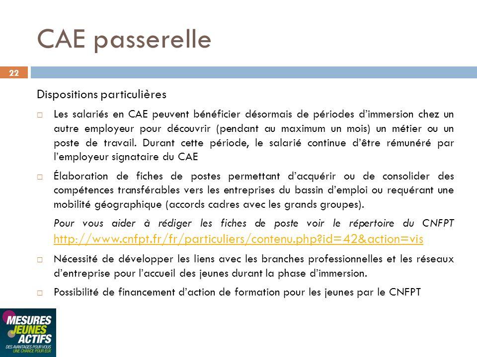 22 CAE passerelle Dispositions particulières Les salariés en CAE peuvent bénéficier désormais de périodes dimmersion chez un autre employeur pour déco