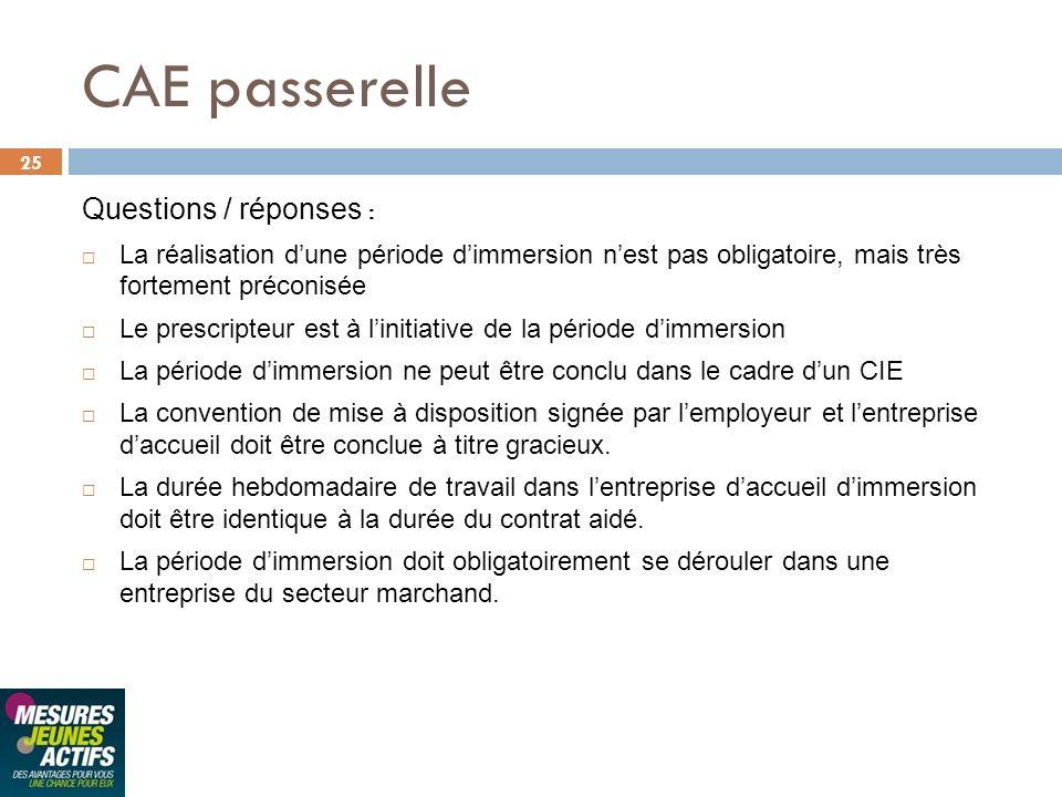 25 CAE passerelle Questions / réponses : La réalisation dune période dimmersion nest pas obligatoire, mais très fortement préconisée Le prescripteur e
